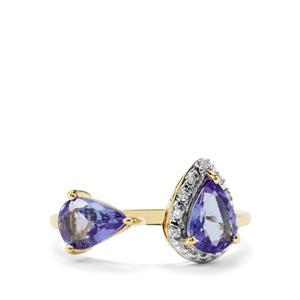 AA Tanzanite & Diamond 9K Gold Ring ATGW 1.34cts