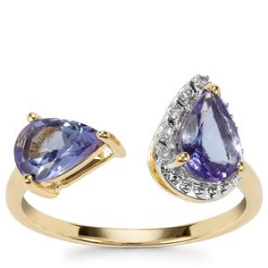 AA Tanzanite Ring with Diamond in 9K Gold 1.34cts