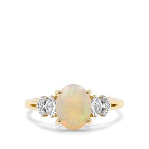 Ethiopian Opal & White Zircon 9K Gold Ring ATGW 1.20cts
