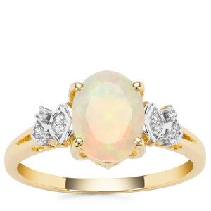 Ethiopian Opal Ring with White Zircon in 9K Gold 1.20cts