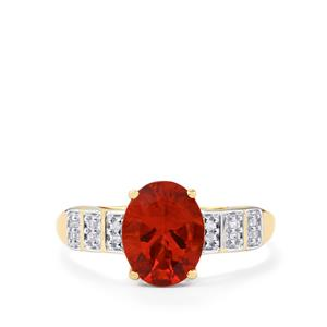 Tarocco Red Andesine Ring with Ceylon White Sapphire in 10K Gold 1.45cts