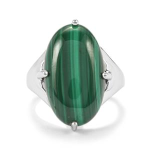 Malachite Ring in Platinum Plated Sterling Silver 14.73cts