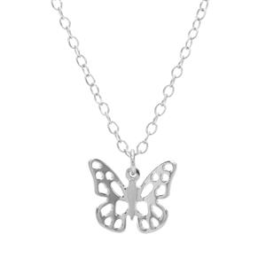 "18"" Sterling Silver Altro Butterfly Charm Necklace 1.30g"