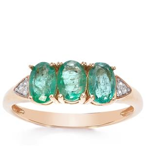 Zambian Emerald & White Zircon 9K Gold Ring ATGW 1.32cts