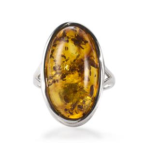 Baltic Cognac Amber Ring in Sterling Silver (22 x 12mm)