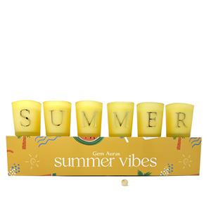 Gem Auras set of 6 Summer Vibes Candles with Yellow Jade Beads ATGW 45cts