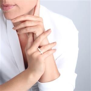 Diamond White Ceramic Ring in 10K Gold 0.06ct