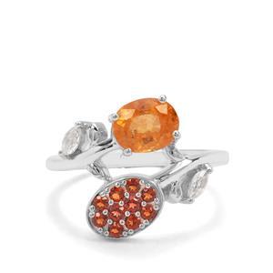 Mandarin, Nampula Garnet & White Zircon Sterling Silver Ring ATGW 2.03cts