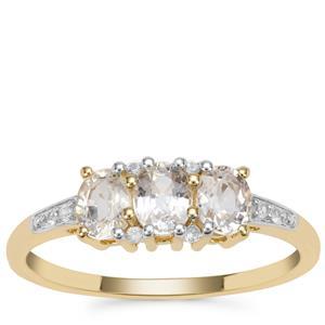 Ceylon White Sapphire Ring in 9K Gold 1.06cts