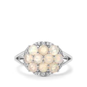 Ethiopian Opal & White Topaz Sterling Silver Ring ATGW 1.12cts