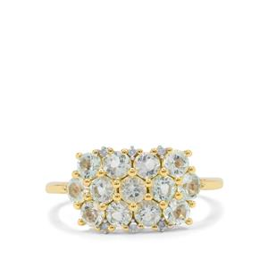 Aquaiba™ Beryl Ring with Diamond in 9K Gold 1.25cts