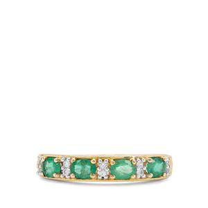 Zambian Emerald Ring with White Zircon in 9K Gold 0.75ct