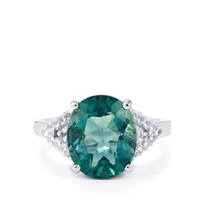 Tucson Green Fluorite & White Topaz Sterling Silver Ring ATGW 5.79cts