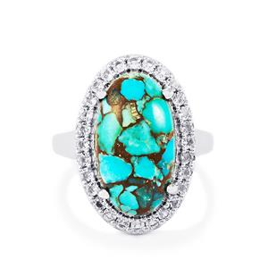 Egyptian Turquoise & White Topaz Sterling Silver Ring ATGW 8.64cts