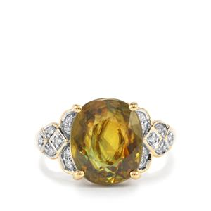 Ambilobe Sphene Ring with Diamond in 18K Gold 7.04cts