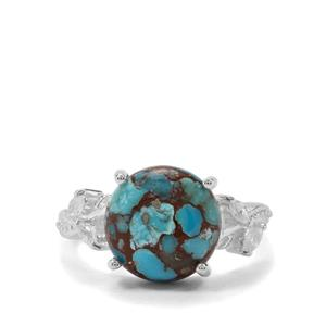 Egyptian Turquoise & White Zircon Sterling Silver Ring ATGW 5.36cts
