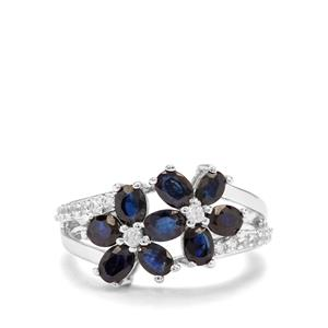 Australian Blue Sapphire & White Zircon Sterling Silver Ring ATGW 2.72cts