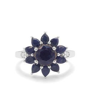Bharat Blue Sapphire & White Zircon Sterling Silver Ring ATGW 4.28cts