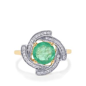 Ethiopian Emerald Ring with Diamond in 18K Gold 1.85cts