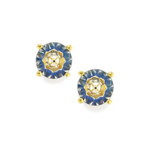 Lehrer KaleidosCut White Quartz & Ceylon Sapphire 10K Gold Earrings ATGW 1.43cts