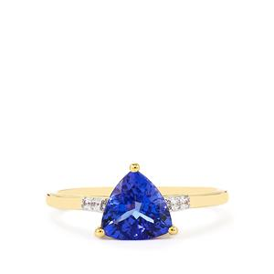 AA Tanzanite Ring with White Zircon in 10K Gold 1.48cts