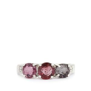 Burmese Multi-Color Spinel & White Topaz Sterling Silver Ring ATGW 2.43cts