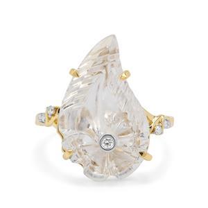 Lehrer Flame Cut Optic Quartz & Diamond 9K Gold Ring ATGW 8.60cts
