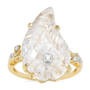 Lehrer Flame Cut Optic Quartz Ring with Diamond in 9K Gold 8.60cts
