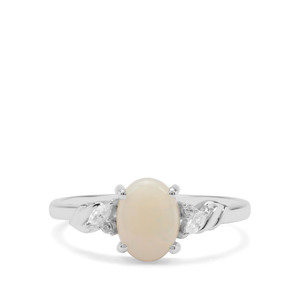 Coober Pedy Opal & White Zircon Sterling Silver Ring ATGW 0.85cts
