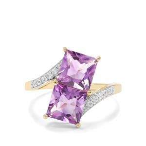 Moroccan Amethyst & White Zircon 10K Gold Ring ATGW 3.27cts