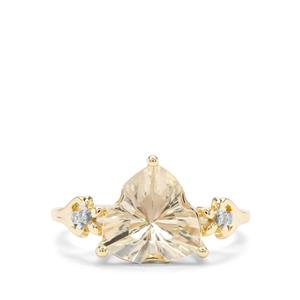 Lehrer Infinity Cut Serenite & Diamond 9K Gold Ring ATGW 3.11cts