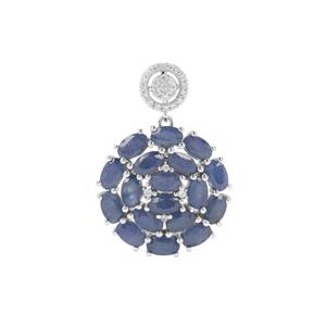 Orissa Sapphire Pendant with White Zircon in Sterling Silver 6.56cts