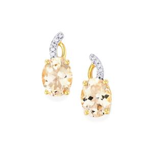 Alto Ligonha Morganite Earrings with White Zircon in 10k Gold 3.26cts