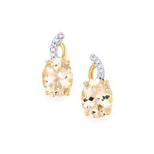 Alto Ligonha Morganite & White Zircon 10K Gold Earrings ATGW 3.26cts