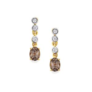 Mahenge Purple Spinel Earrings with White Zircon in 10K Gold 0.86cts
