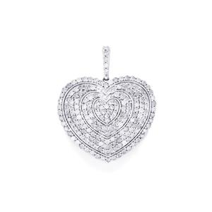 Diamond Pendant in Sterling Silver 3.55ct