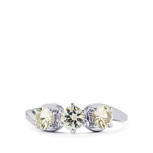 Ceylon White Sapphire Ring  in 10k White Gold 1cts
