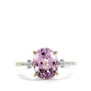 Mawi Kunzite Ring with Diamond in 9K Gold 3.70cts