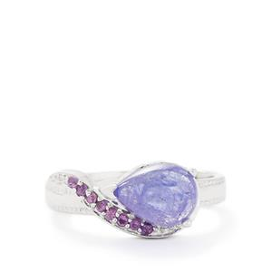 Tanzanite & Amethyst Sterling Silver Ring ATGW 2.77cts