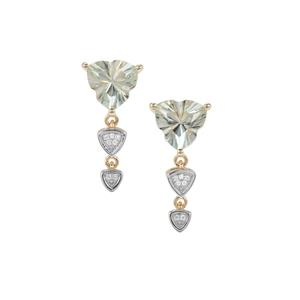 Lehrer Infinity Cut Prasiolite Earrings with Diamond in 9K Gold 3.29cts