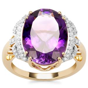 Moroccan Amethyst Ring with Diamond in 18K Gold 7.23cts