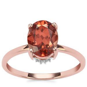 Zanzibar Sunburst Zircon Ring with Diamond in 9K Rose Gold 2.79cts