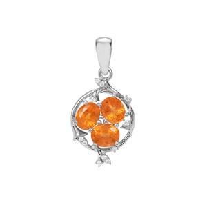 Mandarin Garnet Pendant with Zircon Zircon in Sterling Silver 2.99cts