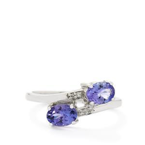 AA Tanzanite & Diamond 10K White Gold Ring ATGW 1.21cts