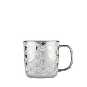 Set of 4 Fan Design Mugs Platinum