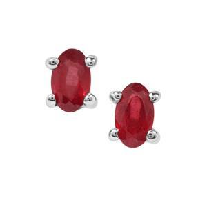 Malagasy Ruby Earrings in Sterling Silver 0.70ct