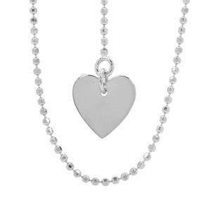 "22"" Sterling Silver Diamond Cut Heart Charm Slider Ball Chain 2.39g"