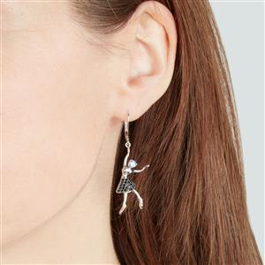 Tanzanite Earrings with Black Spinel in Sterling Silver 0.82ct