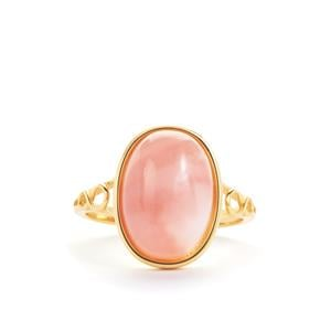 Peruvian Pink Opal Ring in Gold Tone Sterling Silver 3.50cts