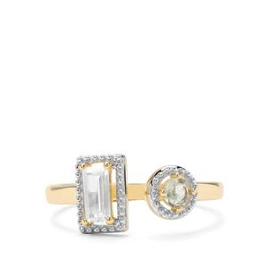 Alexandrite & White Zircon 9K Gold Ring ATGW 0.64cts